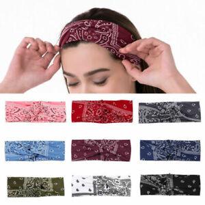 Women's Bandana Print Headband Paisley Twisted Hair Wrap Twisted Stretchable