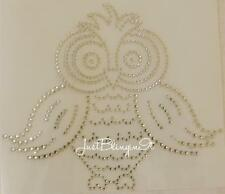 Owl CUTE Rhinestone Hot Fix Iron On Transfer Bling- DIY-  MADE IN USA