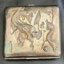Antique Signed Japanese / Chinese Silver Cigarette / Cigar Case - Dragon c1900