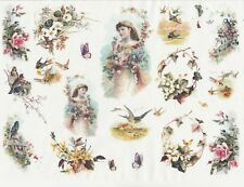 Rice Paper for Decoupage Scrapbook Craft Sheet Flowers, Girls and Birds