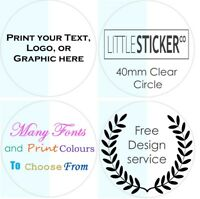 CLEAR Stickers Personalised Favor Favours labels Party Gift seals glossy x 100