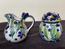 J. McCall Creamer and Lidded Sugar Blue Sky 2004 Blueberries