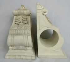 Pair Large Ornate Ivory Curtain Drapery Swag Rod Sconces Corbels Brackets