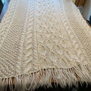Vintage Cable Knit Afghan Throw Blanket Cream Fringed 67 x 45 loose knit