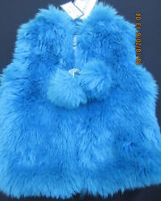 New Girl's AMERICAN WIDGEON Bright Blue Faux Fur Vest Pom Poms Size 3T Sassy NWT