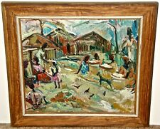 Expressionist Painting of Black Figures Signed Cox