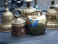 Lot Of 9 Vintage Bells w/ Floral Patterns, Brass and Other Metals - Flower Theme