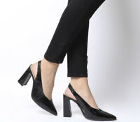Womens Office Hihi Slingback Point Heels Black Groucho Leather Heels