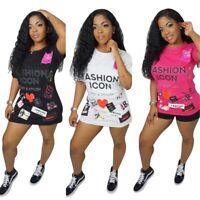 Fashion Women Short Sleeve Letter Print Casual Summer Street Style T-shirt Tops
