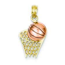 14K Two-tone Gold Basketball Hoop with Ball Charm Pendant MSRP $200