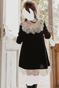 Petite Amalie girls black velvet lace trim dress, great condition, worn once