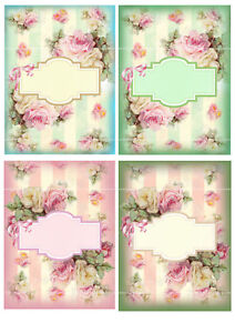 Card Toppers 4 Pretty Roses Cardmaking Scrap Book Pink blue Green Paper Craft