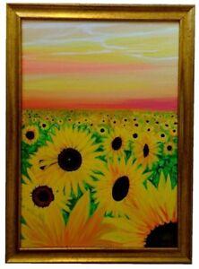 Sunflower Burst Original Painting Framed Landscape Flowers Vibrant Red Sky Art