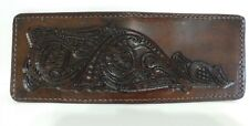 Hand Carved Hand Made Leather Men's Bifold Wallet with Hide away pocket
