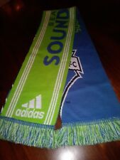 Seattle Sounders FC Soccer Neck Scarf Adidas  in Green Blue with Fringe 8x58