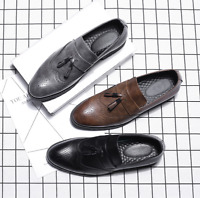 Chic Men's Leather Round Toe Brogue  Tassels Slip On Loafers Shoes UK Size #32