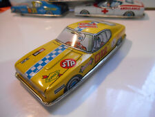 voiture en tole made in japan 50/60 a friction rally , nascar jaune  yellow