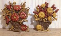 Vintage Burwood Plastic Wall Hangings Basket Fall Flowers Home Decor 2066