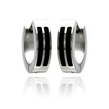 Stainless Steel Black Enamel Lines Huggie Hoop Earrings
