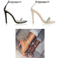 Womens Ladies Stiletto Heel Sandals Diamante Barely There Party Evening Shoes