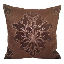 Satin Silver Effect Damask 18x18 Dark Brown Decorative Pillow Case/Cushion Cover