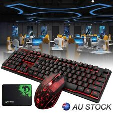 Wired Gaming Keyboard And Mouse Set Kit LED For PC PS4 Macbook Laptop TV Pad AU