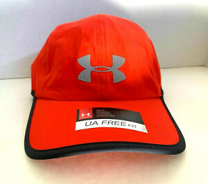 NEW Under Armour Mens Heatgear Running Reflective Adjustable Cap-Red/Grey