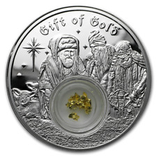 2017 Niue 1 oz. Silver Round  $2 - The 3 Wise Men Gift of Gold Proof Coin - COA
