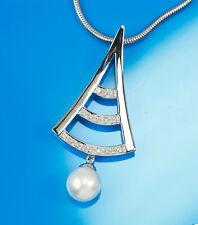 Precioso colgante de oro blanco 585 CON CONCHA perla y brillante 0,07 QUILATES