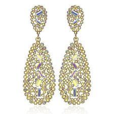 Elegant Gold Austrian Crystal Rhinestone Chandelier Dangle Earring Prom E116AB