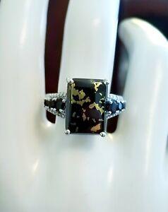 Sterling Silver Ring Apache Gold Pyrite Chalcopyrite Onyx diamond black STS sz9