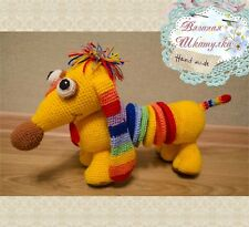 Crochet dog Stuffed farm animal Knitted toy Amigurumi dachshu plush