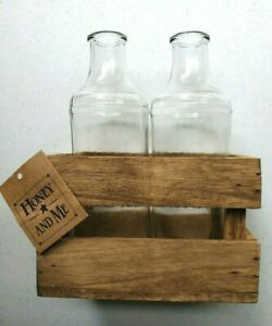 Farmhouse Rustic Home Decor Bottles with Crate by Honey and Me