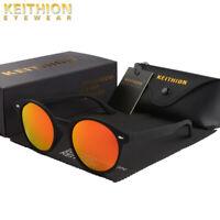 KEITHION New Vintage Round Polarized Sunglasses Mens Womens Mirror Retro Eyewear