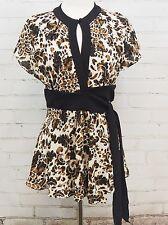 Diane Von Furstenberg Lusee Mod 100% Silk Stretch Wrap Top Brown Keyhole M $258