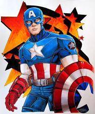 "ORIGINAL (14""x17"") CAPTAIN AMERICA COMIC MARKER SKETCH BY CHARLES HOLBERT"