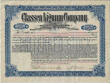 Delaware 1912, Classen Lignum Company w/ Receipt Stock Certificate #49