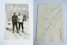 Autogramme LILLI PALMER & CARLOS THOMPSON auf Ski-Foto FLUMSERBERG