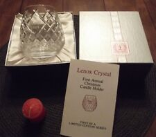 1984 First Annual Lenox Crystal Christmas Candle Holder -Noel- Handblown Crystal