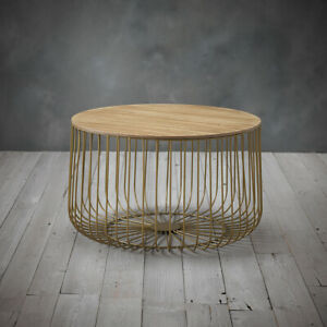 Gold Metal Large Cage Coffee Table / Enzo Modern Side End Table Oak Style Top