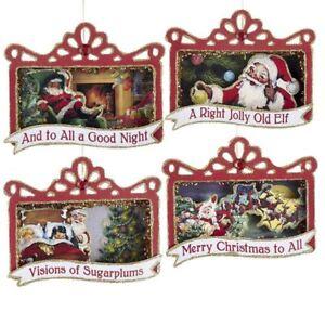 Kurt Adler Santa Shadow Box Vintage Style Retro Decor Night Christmas Ornaments