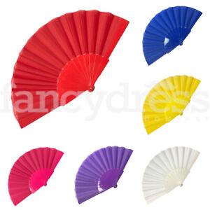 Plain Plastic Fancy Dress Accessory Hand Held Folding Fan Abanica Flamenco Neon