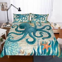 Blue Octopus Ink 3D Quilt Duvet Doona Cover Set Single Double Queen King Print