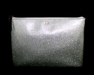 NWOT $55 KATE SPADE WLRU2389 Mavis Street Gia Zip Pouch Clutch Silver Glitter