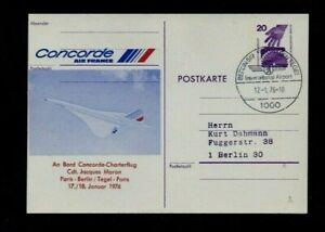 CONCORDE. 1976. BOARDING PASS POSTAL STATIONERY CARD CHARTER FLIGHT PARIS-BERLIN