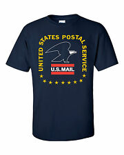 USPS POSTAL POST OFFICE T-SHIRT NAVY VINTAGE 3 COLOR POSTAL LOGO ON CHEST S-5X
