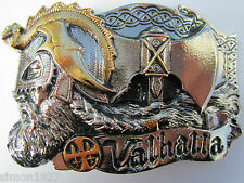 Viking norse valhalla belt buckle hall of the slain in Asgard.