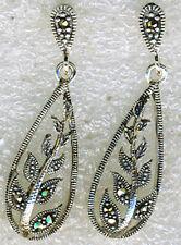 "925 Sterling Silver Marcasite Leaf Long Drop Earrings   30mm length 1.1/5"""