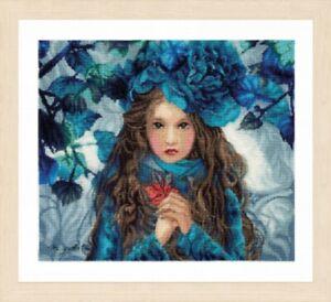 Blue Flowers Girl - Lanarte Counted Cross Stitch Kit w/30 Ct Linen