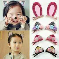 New Girls Cute Hair Clips Flowers Hairpins Rabbit Ears Barrettes For Kids Baby